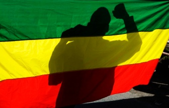 The shadow of a supporter of Ethiopia's Unity for Democracy and Justice party (UDJ) is seen through an Ethiopian flag during a demonstration in the capital Addis Ababa